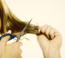 Female hands cutting hair with scissors
