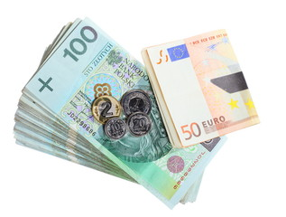 Economy and finance. Polish and euro banknote isolated