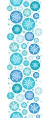 vector round snowflakes vertical seamless pattern background