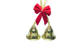 Real golden christmas bells with red bow