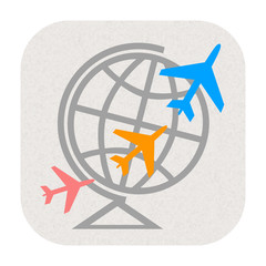 Air travel icon with airplanes flying around world
