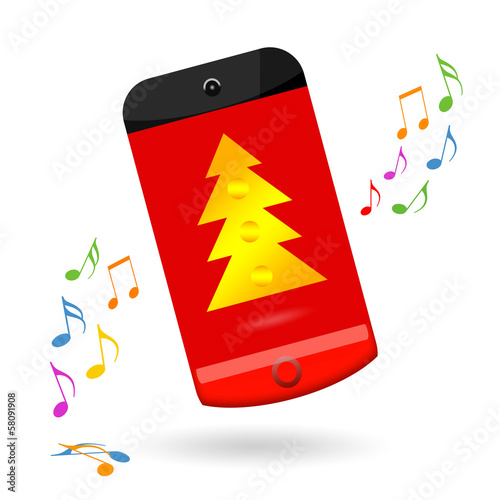 Happy smartphone celebrating Christmas sale