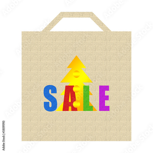 Christmas shopping bag isolated on white background