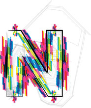 Font Illustration. LETTER N. Vector illustration