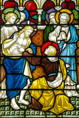 Doubting Thomas stained glass window