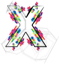 Font Illustration. LETTER X. Vector illustration