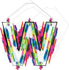 Font Illustration. LETTER W. Vector illustration