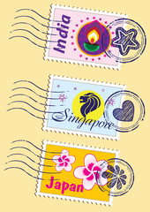 Country stamps icon collection set