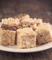 Homemade Marshmallow Rice Crispy Dessert Bar with chocolate