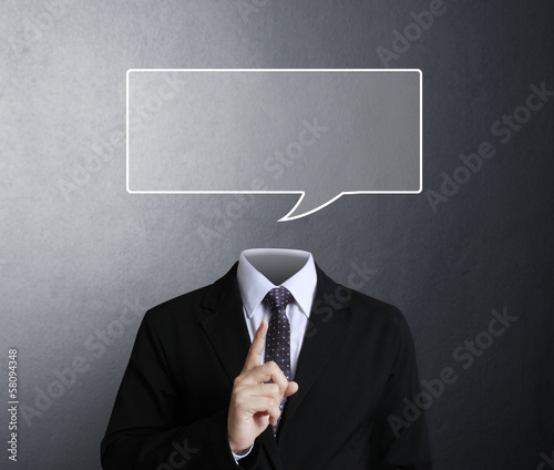 portrait of a young man with  empty speech bubble
