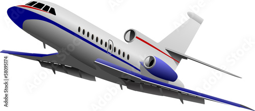 Airplane taking off. Vector illustration for designers