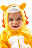 Black сhild boy,dressed in lion carnival suit, isolated