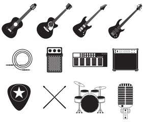 Rock music instruments set