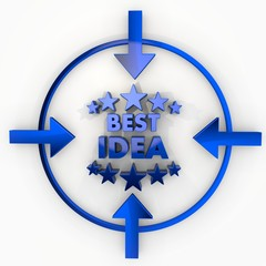 3d graphic of a isolated best idea label in focus point