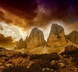 Three Peaks of Lavaredo, Italy. Beautiful landscape at sunset