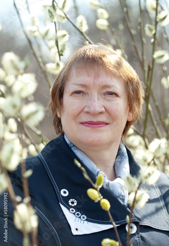 mature woman in spring pussywillow