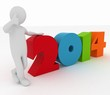 Man presenting new year 2014. 3d illustration