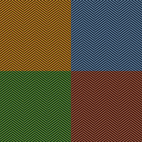 Herringbone stripe seamless pattern set in brown, blue, green