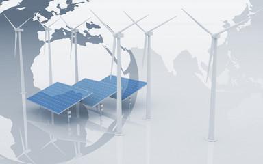 Windmills and Solar Panels on globe background.