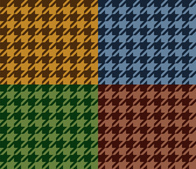 Houndstooth geometric seamless pattern set in brown, blue, green