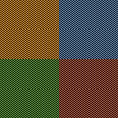 Herringbone stripe seamless pattern set in brown, blue, green
