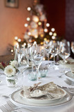 Christmas dinner table in white