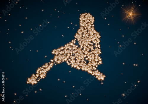 3d render of a arranged sexy woman icon made of tiny spheres