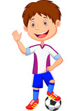 Cartoon kid playing football