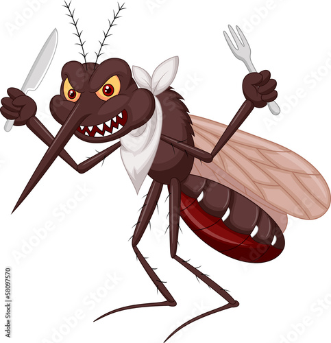 Mosquito cartoon ready for eat