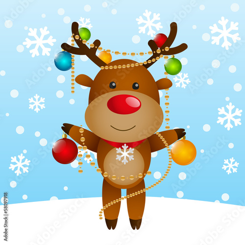 Funny deer with Christmas balls