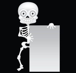 Funny skeleton cartoon with blank sign