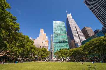 Beautiful upward view of Skyscrapers in Bryant Park, New York