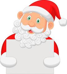 Santa holding blank sign