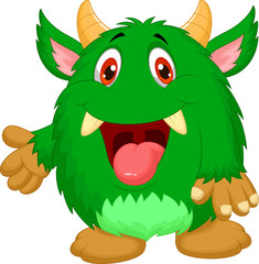 Cute green monster cartoon
