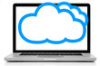 Cloud computing network concept. Notebook with cloud isolated on