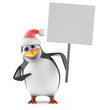 Santa Penguin holds a placard