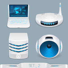 futuristic multimedia devices and technology icon-set 2