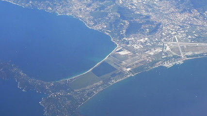 French Cote d'azure and town of Hyeres, aerial shot