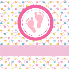 Baby girl greeting card & footprints vector