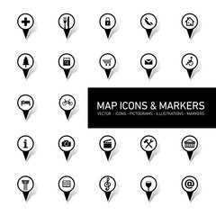 vector map icons and markers on white background