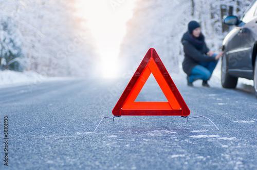 Winter driving - car breakdown - 58101938