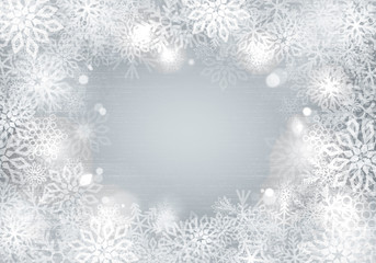 Silver background with snowflakes border