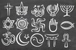 canvas print picture - World Relgions Icons, symbols