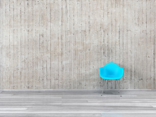 Stuhl und Sichtbeton Wand