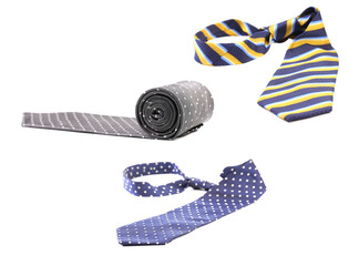 Three multi-colored ties