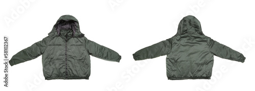 Gray male working jacket with hood.