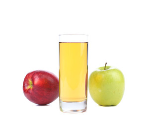 Green and red apples juice.