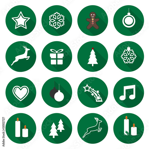 Set of web green flat icons, buttons – Christmas Time