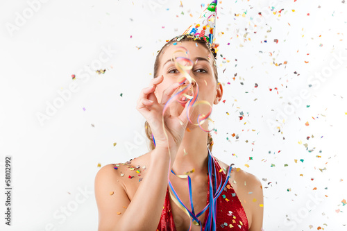 Woman celebrating birthday or party