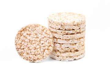 Stack of puffed rice snack.